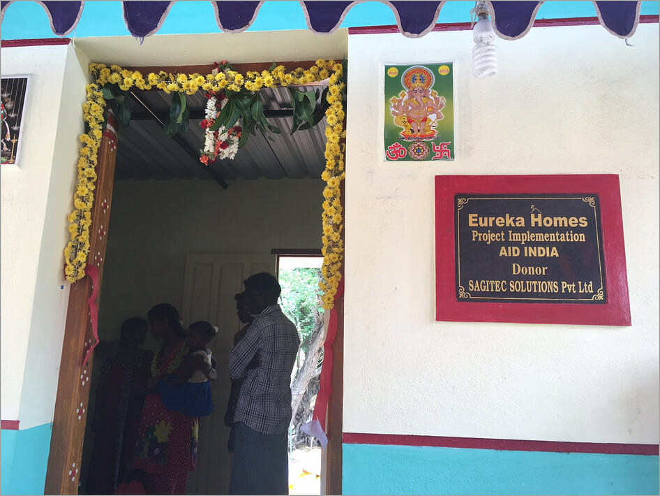 Sagitec Solutions, in collaboration with Aid India, donated money to rebuild seven houses for families who lost their homes during the 2015 Chennai floods